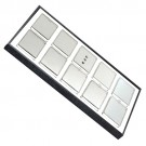 "10 Acrylic 3 x 2.25"" Gem Jars w/White Flat-Foam Inserts in Black Wood Trays, 14.75"" L x 8.25"" W"