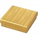 "Box of 100 Gold Cotton Filled Boxes (3 1/2"" x 3 1/2"" x 1"")"