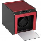 Single (1) Programmable Watch Winder Red Aluminum w/ LED Illumination