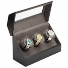 "Diplomat ""Victoria"" 3-Watch Winder in Onyx & Charcoal"