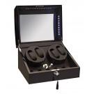 Diplomat Phantom LED Lit Quad (4) Watch Winder - Black Ebony Wood Finish / Storage Case For 5 Watches