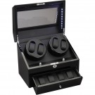 Phantom LED Quad (4) Watch Winder w/Drawer Storage Black Wood Finish
