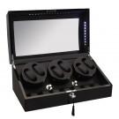 Diplomat LED Lit Six (6) Watch Winder - Black Ebony Wood Finish / Additional Storage for 7 Watches