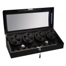 Diplomat LED Lit Eight (8) Watch Winder - Black Ebony Wood Finish / Additional Storage for 9 Watches