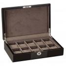 Diplomat 10 Watch Case Carbon Fiber Black Wood w/ Soft Microfiber Gray Suede Interior