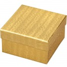 "Box of 100 Gold Cotton Filled Boxes (3 3/4"" x 3 3/4"" x 2"")"