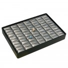 35 Slot Ring Stackable Tray - Black Faux Leather with Steel Grey