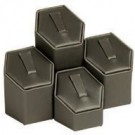 "4-Piece Set of Hexagonal Clip-In Ring Columns in Steel Gray, 1.75"" W x 1.25 - 2.5"" H"