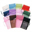 Drawstring Pouches in Assorted Organza, 4 x 5 in.