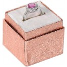 Economy Collection Square Ring Slot Box in Rose Gold Foil