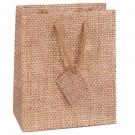 """Burlap Print Matte Tote Gift Bag 3"""" x 2"""" x 3 1/2"""" H"""