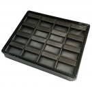 16 Pair Earring Pad Tray - Black Faux Leather w/ Steel Grey