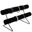 Double T-bar on Wire Base - Black Velvet