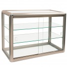 "3-Level Aluminum Showcases w/Sliding Doors, 24"" L x 12"" W"