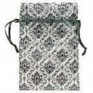 "Black & White Damask Organza Drawstring Pouches, 4"" L x 5"" W"