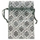 "White w/ Black Damask Pouch 2.75""x3.0"""