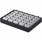 25 Pair Earring Pad Stackable Tray - Black Faux Leather w/ Steel Grey