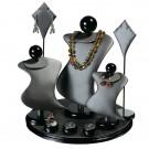 9 - Piece Display Set Steel Grey Faux Leather w/ Black Wood Trim