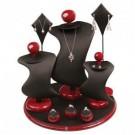 9-Piece Modern Round Jewelry Display Set in Onyx & Mahogany