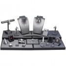 24 Piece Display Set - Steel Grey w/Black Faux Leather Trim