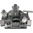 24 - Pc. Display Set - Steel Grey Faux Leather w/ Black Leather Trim