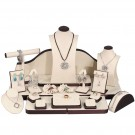 24-Piece Combination Jewelry Display Set in Sandstone & Steel Brown