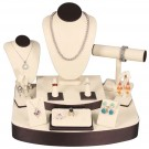 12 - Piece Set - Premium Beige w/Steel Brown Faux Leather Trim