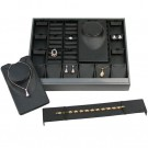 28-Piece Multi-Functional Jewelry Set Trays in Onyx & Steel Gray