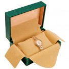 Deluxe Single Watch Box w/ Cushion Pillow - Green Leatherette Finish w/ Beige Interior