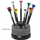 Screwdrivers Set on Rotating Stand - 9 Stainless Steel Watchmaker Screwdrivers