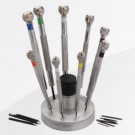 9-Piece Flat Screwdriver Sets on Rotating Stand