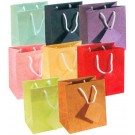 "Patched Matte Tote-Style Gift Bags in Assorted Colors, 4"" L x 4.5"" W"