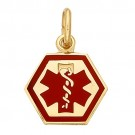 14k Yellow Medic Aid Medallion, 9.3 mm x 0.030""