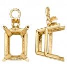 14k Yellow Gold Emerald Cut Drop Setting w/ Diamond Accent