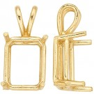 14k Yellow Emerald Cut Double Wire Pendant
