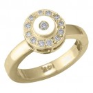 14k Yellow Gold Circle Shape w/ Diamond Toe Ring