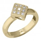 14k Yellow Gold Diamond Shape w/ Diamond Toe Ring