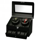 Diplomat Quad (4) Watch Winder w/ Storage for 4 Watches - Black Wood / Black leatherette Interior
