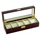 "5-Cushion 'Estate' Glass-Top Watch Cases in Natural Wood & Cream, 12.5"" L x 4.5"" W"