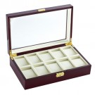 "10-Cushion 'Estate' Glass-Top Watch Cases in Natural Wood & Cream, 12.5"" L x 7.75"" W"
