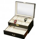 Diplomat Ten Watch Case - Cream Leatherette & Drawer / Pen & Cufflink Storage