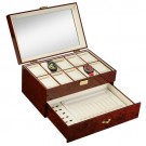 Combo Case w/ See Through Top (10 Watches + Pen + Cuff) - Mahogany