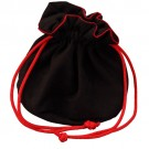"""Black Suede Pouch with Red Drawstring 2.50"""" x 2.50"""" (10pk)"""
