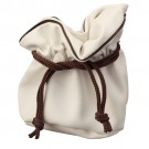 "White Leather Pouch with Brown Drawstring 4.75"" x 4.75"" (10pk)"