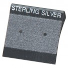 "Flocked Gray 'Sterling Silver' Hanging Display Cards for Stud Earrings (Pk/200), 1"" L x 1"" W"