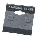 "Flocked Gray 'Sterling Silver' Hanging Display Cards for 3 Pairs Hoop or Stud (Pk/200), 1.5"" L x 1.5"" W"