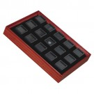 "15 Glass-Top 1 x 1"" Gem Jars w/Black Rolled-Foam Inserts in Mahogany Wood Trays, 8"" L x 5.5"" W"