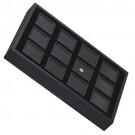 """12 Glass-Top 1.5 x 1.5"""" Gem Jars w/Black Rolled-Foam Inserts in Black Wood Trays, 8"""" L x 5.5"""" W"""