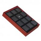 """12 Glass-Top 1.5 x 1.5"""" Gem Jars w/Black Rolled-Foam Inserts in Mahogany Wood Trays, 8"""" L x 5.5"""" W"""