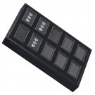 "10 Glass-Top 2 x 1"" Gem Jars w/Black Rolled-Foam Inserts in Black Wood Trays, 8"" L x 5.5"" W"